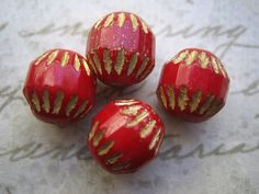 Vintage beads (4) Czech glass ruby red gold baroque rounds 10mm (4) by a2zDesigns on Etsy