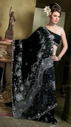 Indian Designer Saree  साड़ी.com Indian Designer Sarees, Indian Sarees, Pakistani, Bollywood Saree, Bollywood Fashion, Purple And Black, Black Silver, How To Feel Beautiful, Party Wear