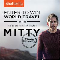 Enter The Walter Mitty Photo Experience to get an instant Shutterfly gift--plus, be entered to win a World Travel Package and a trip to the film premiere. shutterfly.com/waltermitty