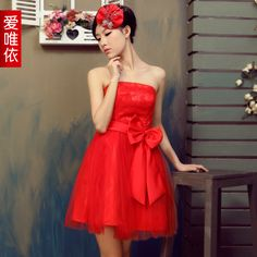 Bride dress bow lace short skirt FreeShipping 2012 spring new arrival dress bridesmaid short skirt on AliExpress.com. 10% off $30.07