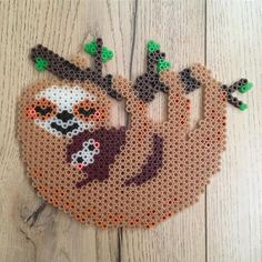 Fan of fuse beads on Instagram: I love this adorable pattern. #sloths   #adorable #beads #instagram #Kunsthandwer Melty Bead Patterns, Pearler Bead Patterns, Embroidery Flowers Pattern, Perler Patterns, Beaded Embroidery, Beading Patterns, Quilt Patterns, Knitting Patterns, Mosaic Patterns