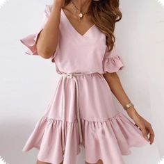 Buy Cheap Fashion Summer Casual Solid Color V Neck Ruffled Short Sleeve Women Summer Dress Sexy Women Dress Plus Size Women Dress Online - Hplify
