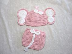 Hey, I found this really awesome Etsy listing at https://www.etsy.com/listing/186575850/baby-girl-elephant-hat-with-matching