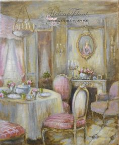 "Diner au Petit Salon "" - Gustavian dining room - Original oil painting Helen Flont Janet Hill, Shabby Chic Art, Romantic Paintings, Art Vintage, Cottage Art, Wall Drawing, Romantic Cottage, Art Et Illustration, French Interior"