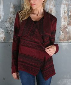 Another great find on #zulily! Wine Black Fair Isle Draped Open Cardigan #zulilyfinds