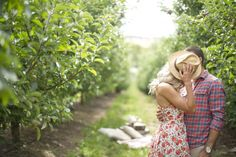 An apple picking engagement session