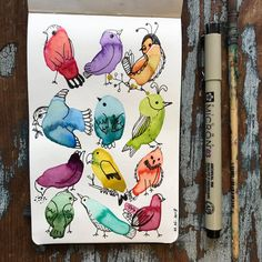 Ideas bird doodle art to draw Art And Illustration, Vogel Illustration, Bird Doodle, Doodle Art, Watercolor And Ink, Watercolor Paintings, Watercolours, Tier Doodles, Ink