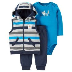Baby Boys' 3 Piece Striped Fox Vest Set Grey/Blue - Just One You™Made by Carter's® : Target