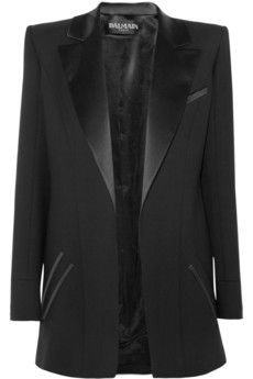 This @Balmain black wool blend twill blazer will pair nicely with a mini dress $826, get it here: http://rstyle.me/~krTO