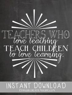 Chalboard Quote Love Teaching by decoratemylife on Etsy