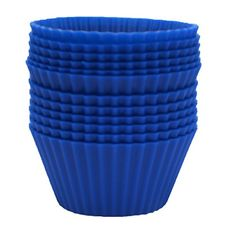 EcoCups Silicone Baking cups  Set of 12 Cupcake Liners Cool Blue >>> Click image for more details.