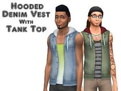 The Sims 4 | VentusMatt: Hooded Denim Vest With Tank Top | CAS Clothing new mesh male adult everyday