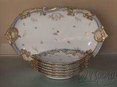 Vintage Limoges Straus & Granger Platter & 6 Matching Dessert Size Plates-1920's #JGranger