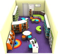Light and Contemporary Gloss White Primary School Library Design Public Library Design, School Library Design, Kids Library, Classroom Design, Toddler Daycare Rooms, Childcare Rooms, Kindergarten Library, Kindergarten Interior, Library Inspiration