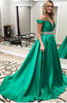 Off-the-Shoulder Gorgeous Green Crystal Prom Dress Beadings A-Line Prom Dress