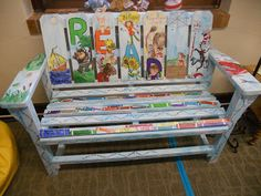 Love this painted Reading Bench!  This post has tons of examples of authors chairs, too!