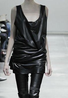 draped leather tunic