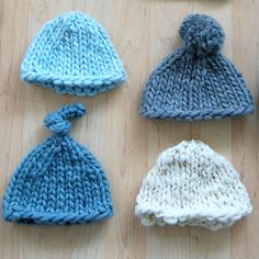If you're looking for a super basic newborn hat pattern to knit up for someone tiny and new in your life, this is it. I'm pretty sure that each of these took me about 15 minutes to knit. Included are instructions for the top-knot, but you can also leave your hat plain or add a pom-pom. These are perfect baby shower or new baby gifts, and they'd also be great for newborn portrait sessions.