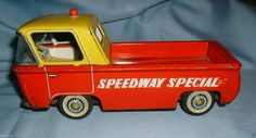 VINTAGE SPEEDWAY SPECIAL CORVAIR STYLE PICK-UP TIN TOY FRICTION LINEMAR TOY CO