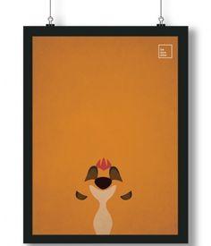 Pôster/Quadro minimalista Rei Leão Timão