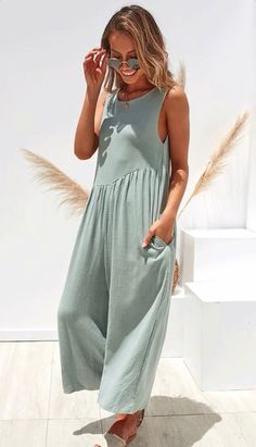 Women Crew Neck Linen Sleeveless Solid Bohemian Jumpsuits - modvivi Source by atheiler Jogger Outfit, Fashion Pants, Fashion Outfits, Casual Jumpsuit, Look Chic, Jumpsuits For Women, Fashion Jumpsuits, Casual Outfits, Girly Outfits