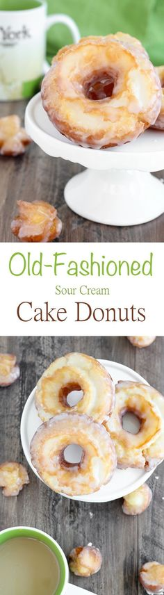 These Old Fashioned Sour Cream Cake Donuts are UNREAL. Unreal. The inside is soft, tender and cakey; and the outside is crispy with a classic sweet glaze. Just like you get at the donut shop! #americanheritagecooking #donuts #sourcreamcakedonuts #donutrec