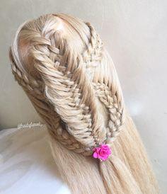 Five strand braids/messy woven fishtail braid combo