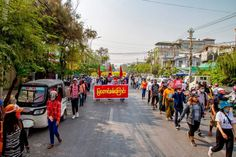 Location: Mandalay #whatshappeninginmyanmar #savemyanmar #peacefulprotest #genzprotest #smartprotest #threefingersalute #hearthevoicesofmyanmar #massiveprotest Military Coup, Peaceful Protest, Mandalay, Street View, Shit Happens