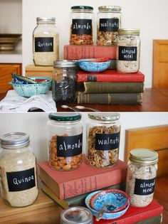 DIY Recycled Food Containers for the Kitchen!    Reuse your old pickle jars to make these cute and reusable jars to hold nuts, grains, baking ingredients, etc!    What you'll need:  - Empty jars from the recycling bin - old pickle jars, spaghetti sauce, coconut oil, you name it!  - Chalk spray paint  - Chalk pieces