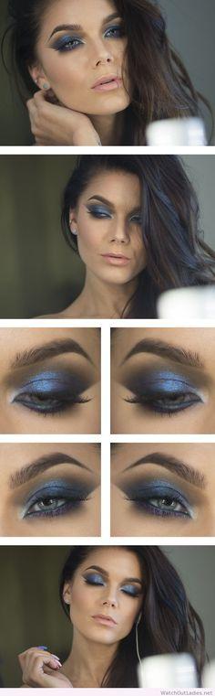 Linda Hallberg amazing blue and purple eye makeup