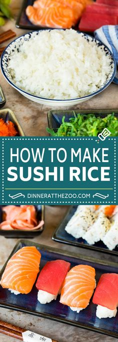 This sushi rice is a simple blend of rice, sugar, vinegar and salt that makes the perfect foundation for any type of sushi, or a side dish to a Japanese style meal. Making sushi at home is fun and easy to do, and your family and friends will be impressed with the end result! Teriyaki Salmon, Teriyaki Chicken, Shrimp Tempura Roll, Sushi Rice Recipes, Types Of Sushi, Sushi At Home, Sushi Bowl, Asian Grocery, How To Make Sushi