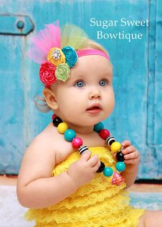 Rainbow Sherbet Sweet Couture Satin Rolled Rose Headband  - Photography Prop - Newborn Photos