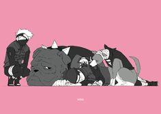 Tags: NARUTO, Hatake Kakashi, Umino Iruka, Pakkun, Pixiv Id 4601773