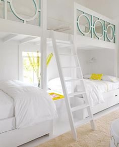 bunk beds-This is a GREAT idea for a guest bedroom, which takes a smaller space, and makes it so 4 people can sleep comfy! also great for converted attic spaces, and rooms you want to use when there are no guests. No beds get in the way of floor space!