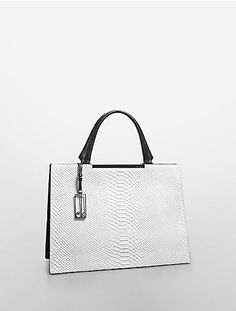 clea python embossed leather iconic frame satchel | Calvin Klein