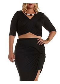 Plus Size Ruched Wrap Crop Top