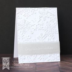 Cozy Winter Wishes card using Lil' Inker Designs Snowflakes Cover Up die and white glitter