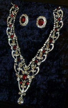 Queen Elizabeth's ruby and diamond necklace and earrings.