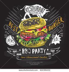 fast food vector logo design template. hamburger, burger or menu board icon, chalkboard background