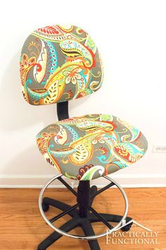 How To Reupholster An Office Chair: Fix a worn out chair, or just add some fun color to a boring black chair!