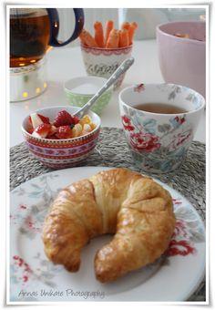 Good Morning Breakfast ~ cressant, fresh fruit and tea.
