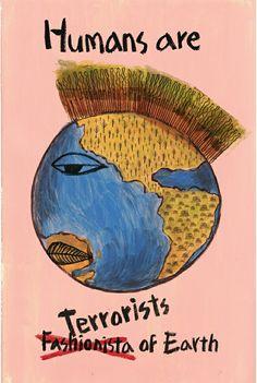 Humans are TERRORISTS of Earth. - acrylic on paper  #지구테러리스트 #일러스트레이터 #일러스트 #illustration #illust #mongcha #몽차 #earth #지구 #환경보호 #지구환경 #아크릴물감  #protection_of_the_environment