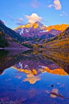 Sunrise over Marron Bells, Colorado USA