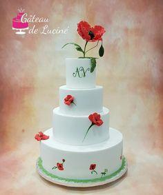 Poppy wedding cake by Gâteau de Luciné - http://cakesdecor.com/cakes/312238-poppy-wedding-cake