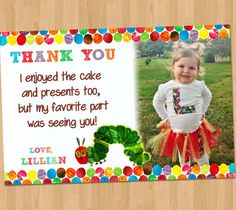 Very Hungry Caterpillar Thank You Card -  Very Hungry Caterpillar Birthday - The Very Hungry Caterpillar Party Printable Photo - Invitation on Etsy, $7.99