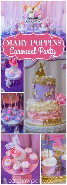 So many pretty details at this Mary Poppins carousel birthday party! See more party ideas at CatchMyParty.com!