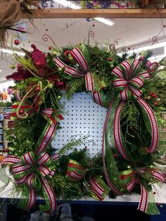 Large square lighted christmas wreath by kyong