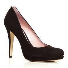 A Kate favorite: Valerie Chocolate - Occasion Shoe - Chocolate Suede with Leather Lining - High Heel - Platform Court Shoe