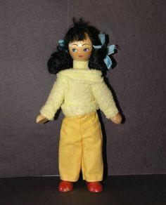 Vintage 7inch POLISH WOODEN DOLL - 1960s 1970s - With DARK HAIR!!!! | eBay