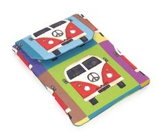 Kindle Case, Nook Simple Touch in VW CAMPERVAN fabric. Padded eReader Sleeve with with bright and colourful VW Camper Vans. Fabric design by Sharon Turner of Scrummy on Spoonflower. SIZE: The approx internal measures of this cover are: Imperial: Caravan, E Ink Display, Beautiful Gifts, Lovely Things, Kindle Case, Vw Camper, Campervan, Gifts For Friends, Fabric Design